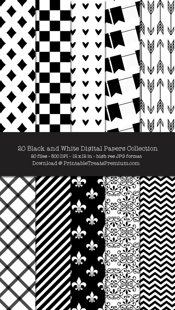 Black and White Digital Paper Pack for Scrapbooking, Party