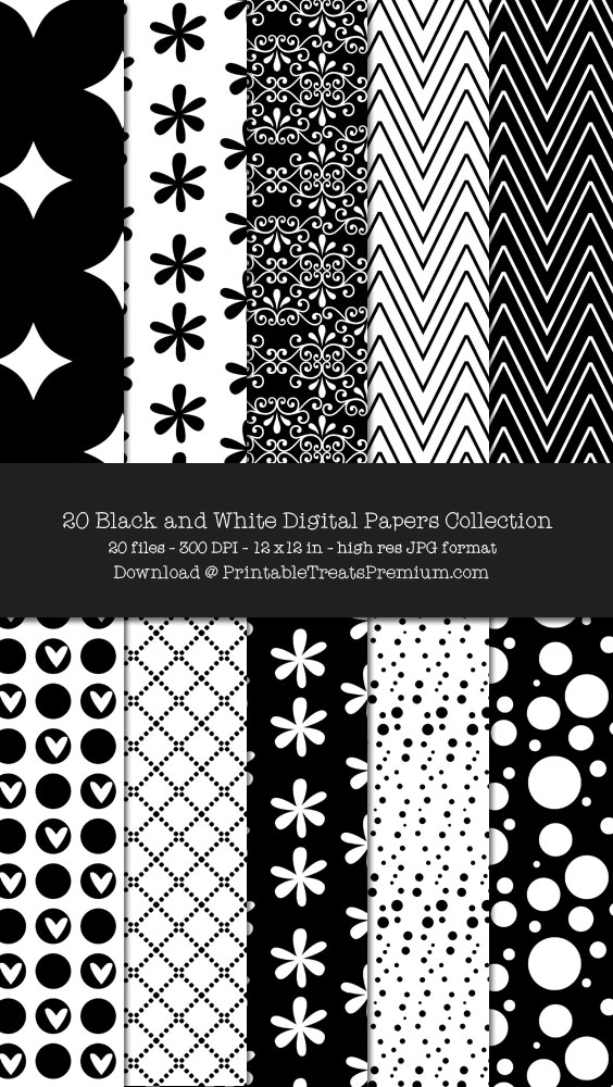 20 Black and White Digital Papers Collection