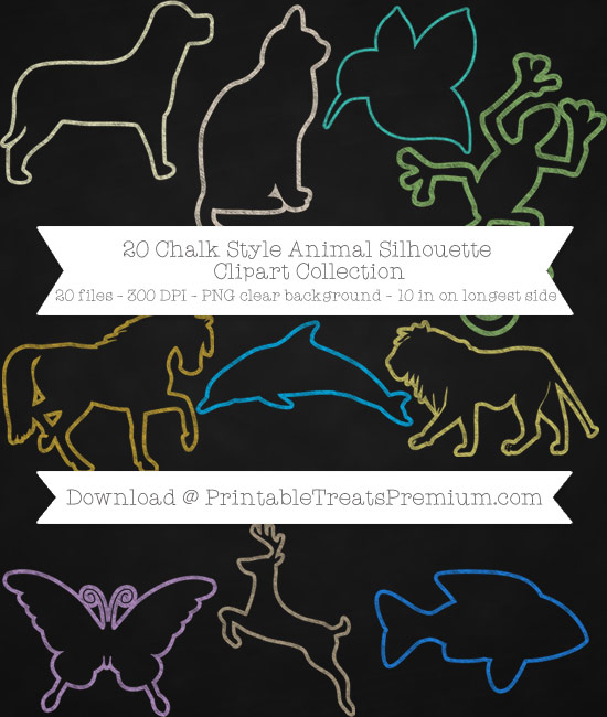20 Chalk Style Animal Silhouette Clipart Collection