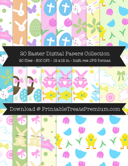20 Easter Digital Papers Collection