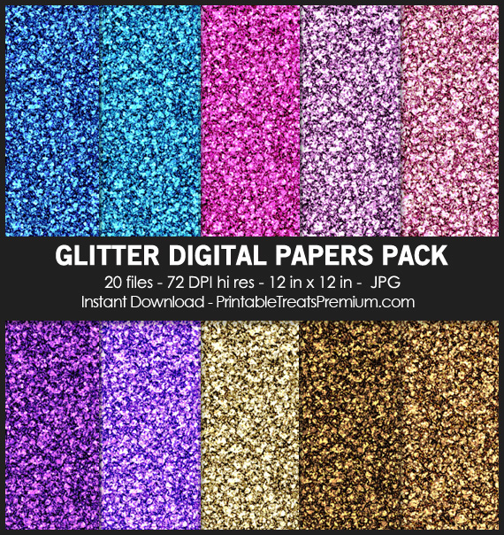 20 Glitter Digital Papers Pack