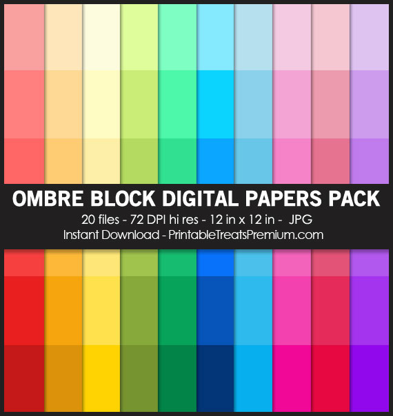Ombre Block Digital Paper Pack for Scrapbooking, Invitations, Wrapping Paper, Parties