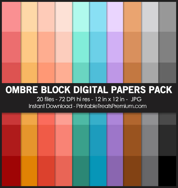 20 Ombre Block Digital Papers Pack