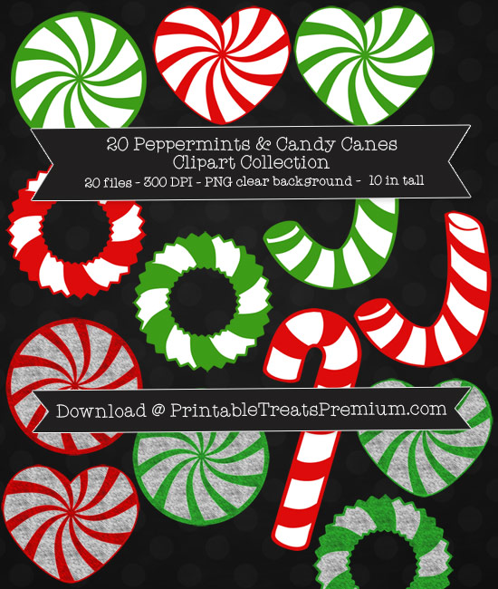 Peppermint and Candy Canes Clip Art Pack