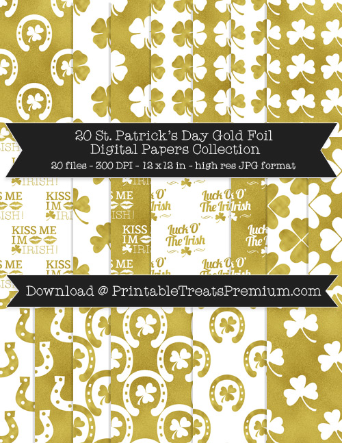 St. Patrick's Day Gold Foil Digital Paper Pack for Scrapbooking, Invitations, Wrapping Paper, Parties