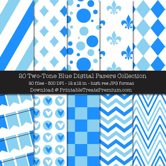 Two Tone Blue Digital Paper Pack for Scrapbooking, Invitations, Wrapping Paper, Parties