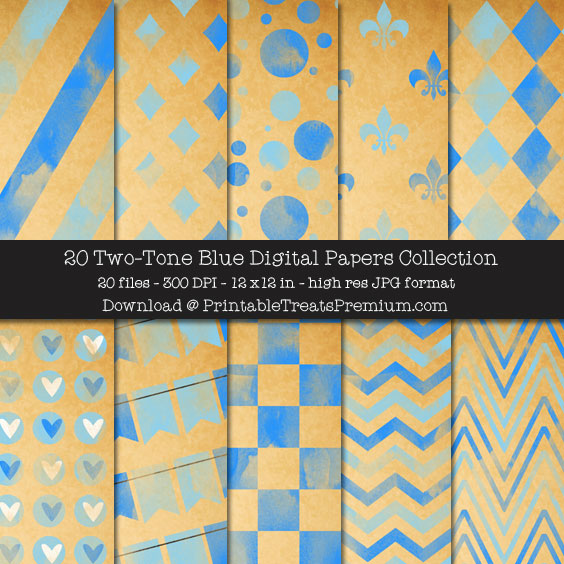 20 Two-Tone Blue Digital Papers Collection