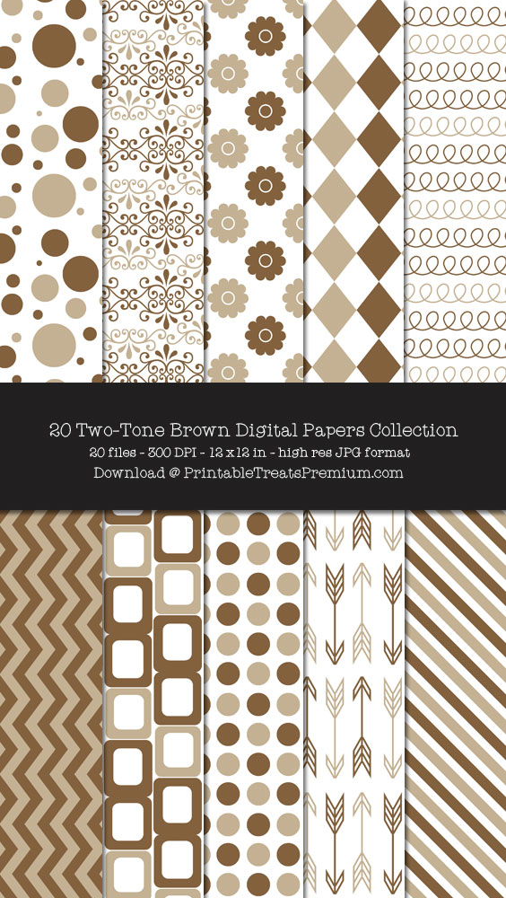 Two Tone Brown Digital Paper Pack for Scrapbooking, Invitations, Wrapping Paper, Parties