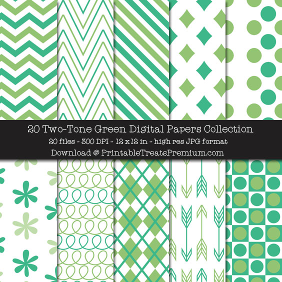 Two Tone Green Digital Paper Pack for Scrapbooking, Invitations, Wrapping Paper, Parties