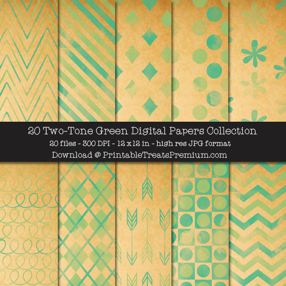 20 Two-Tone Green Digital Papers Collection