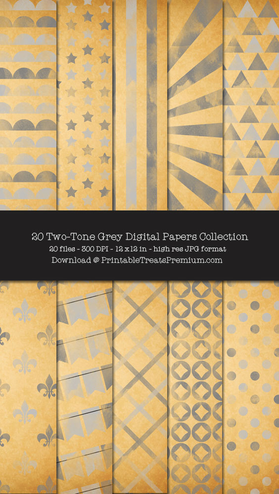20 Two-Tone Grey Digital Papers Collection