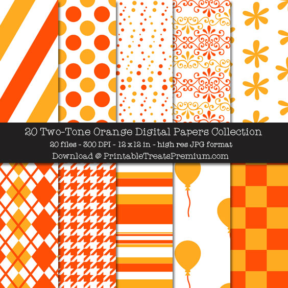 20 Two-Tone Orange Digital Papers Collection
