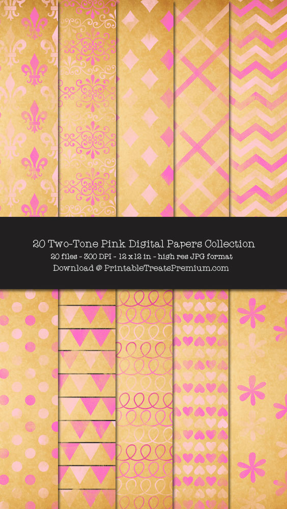 20 Two-Tone Pink Digital Papers Collection