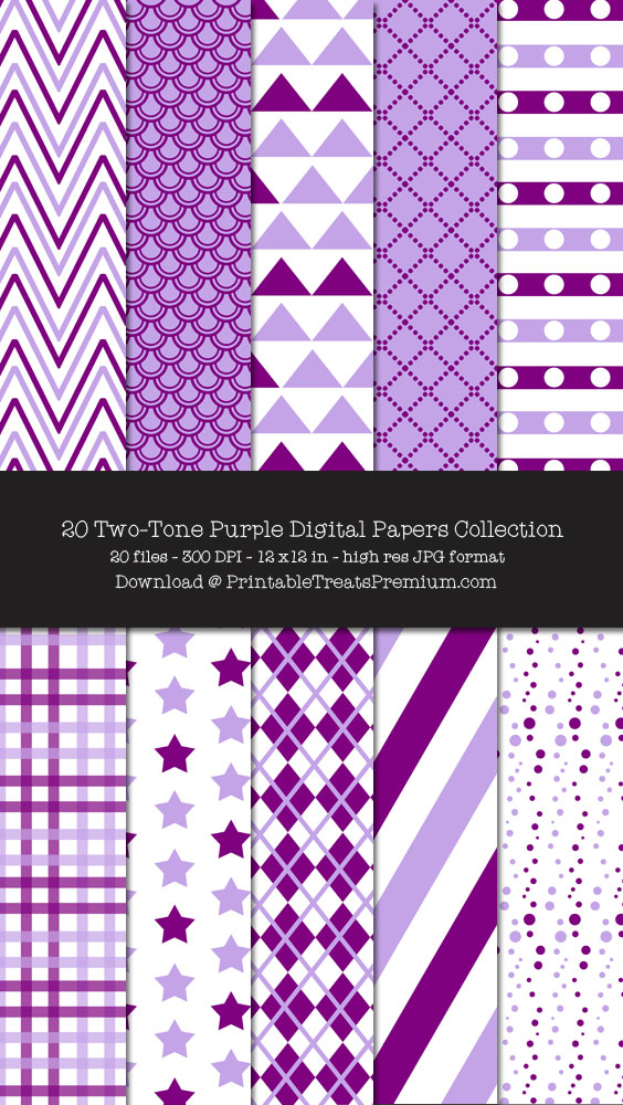 Two Tone Purple Digital Paper Pack for Scrapbooking, Invitations, Wrapping Paper, Parties