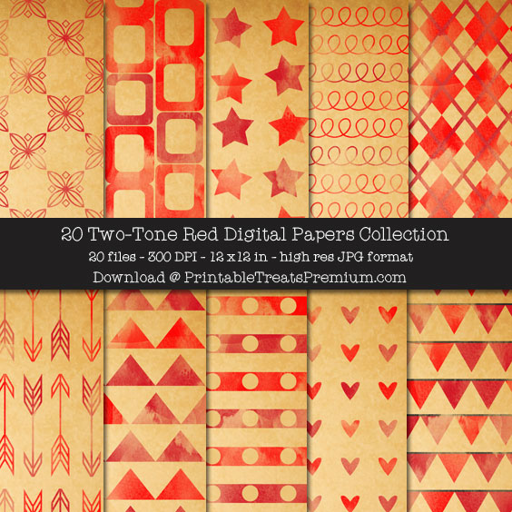 20 Two-Tone Red Digital Papers Collection