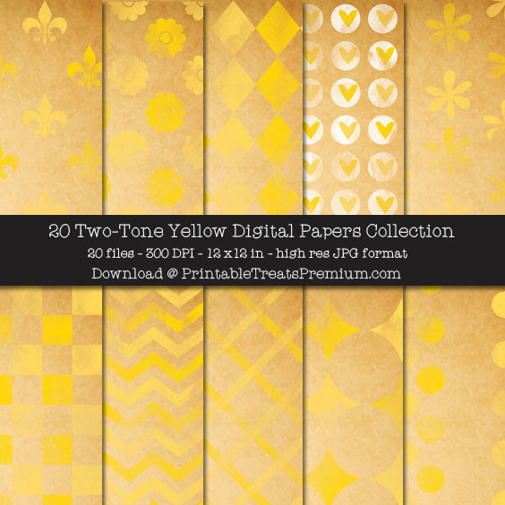20 Two-Tone Yellow Digital Papers Collection