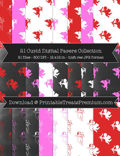 Cupid Digital Paper Pack for Scrapbooking, Invitations, Wrapping Paper, Parties, Valentine's Day