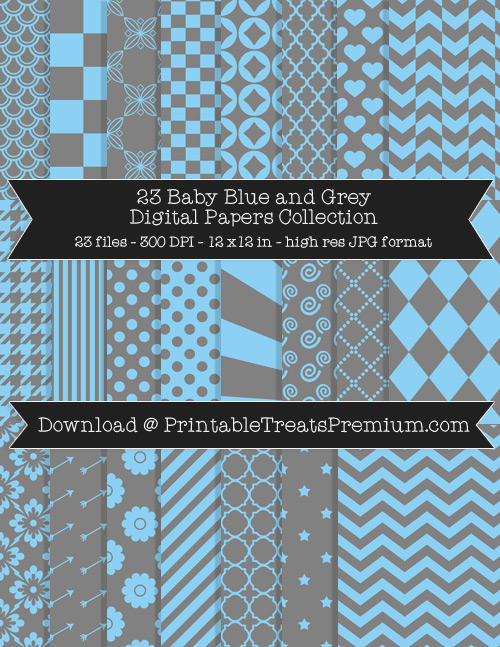 23 Baby Blue and Grey Digital Papers Collection
