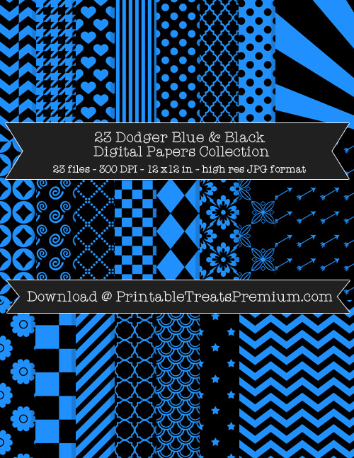 23 Dodger Blue and Black Digital Papers Collection