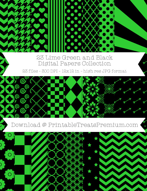 23 Lime Green and Black Digital Papers Collection