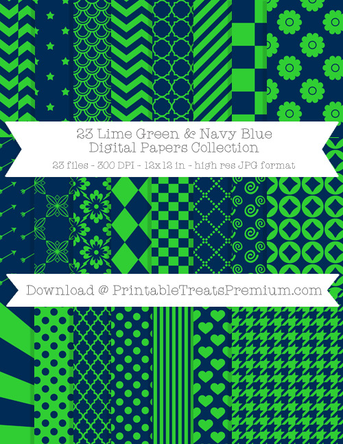 23 Lime Green and Navy Blue Digital Papers Collection