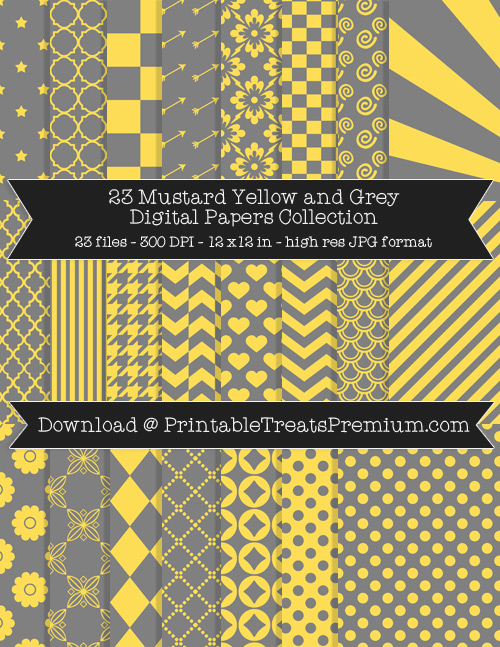 23 Mustard Yellow and Grey Digital Papers Collection
