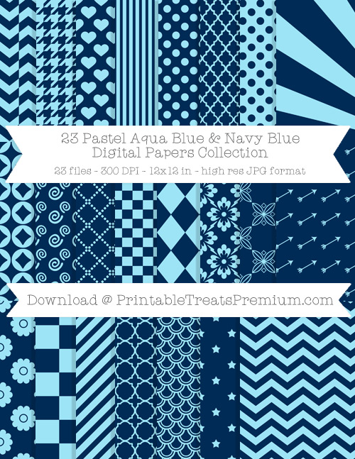 23 Pastel Aqua Blue and Navy Blue Digital Papers Collection