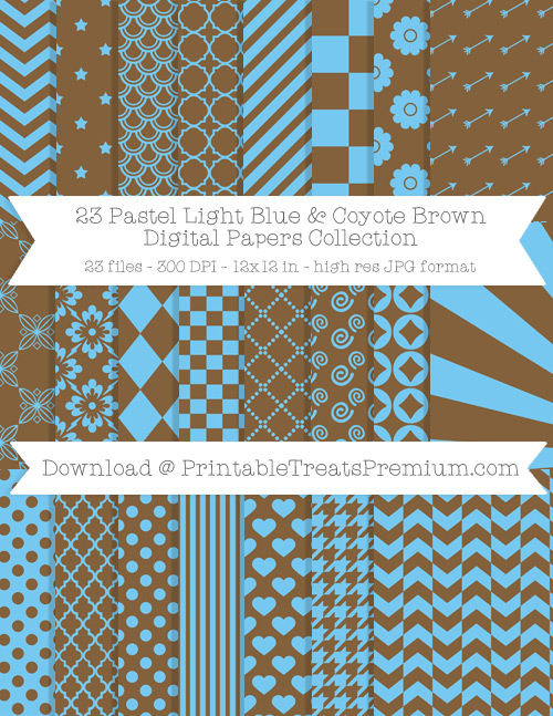 23 Pastel Light Blue and Coyote Brown Digital Papers Collection