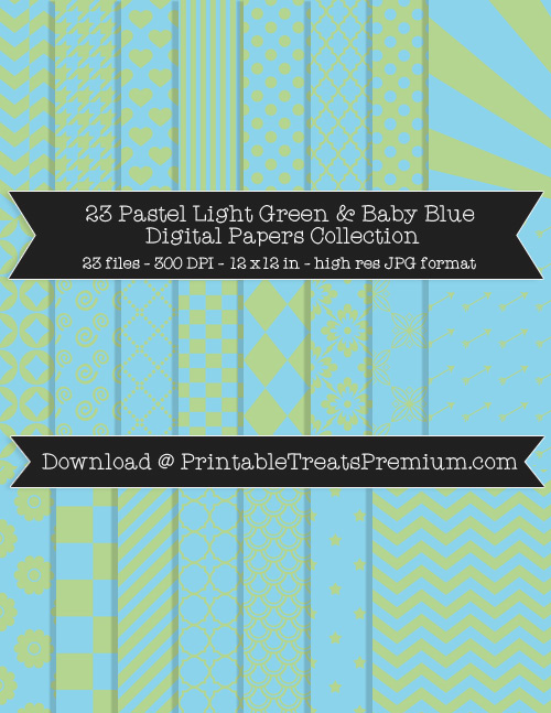 23 Pastel Light Green and Baby Blue Digital Papers Collection