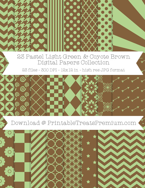 23 Pastel Light Green and Coyote Brown Digital Papers Collection