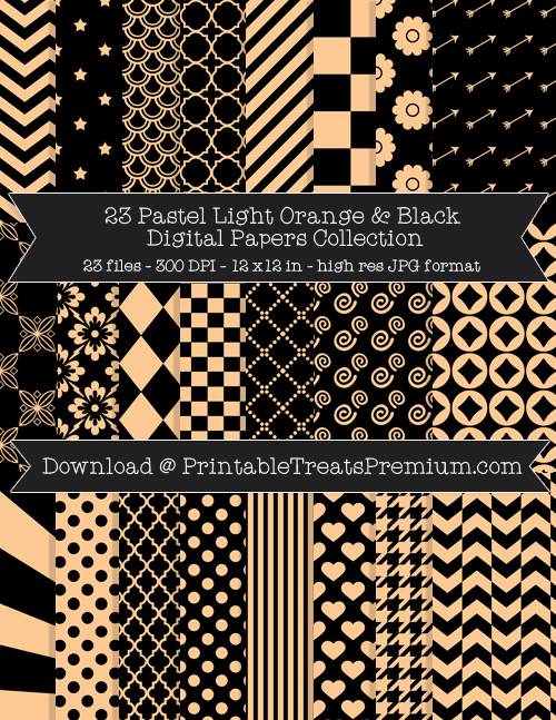 23 Pastel Light Orange and Black Digital Papers Collection