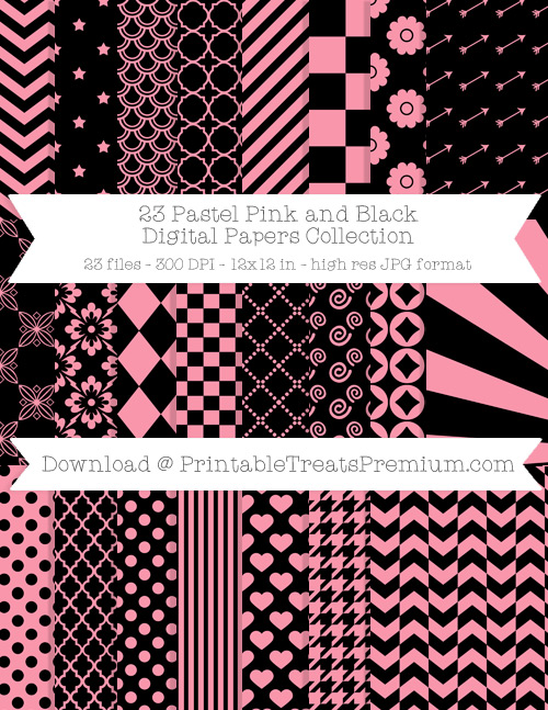 23 Pastel Pink and Black Digital Papers Collection