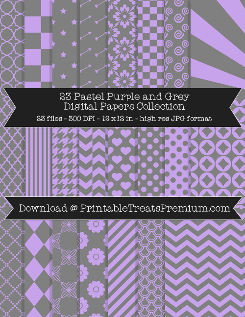 23 Pastel Purple and Grey Digital Papers Collection
