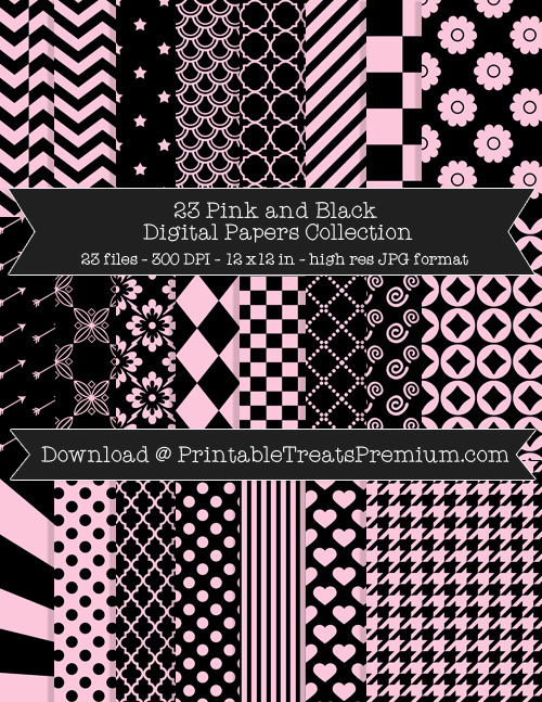 23 Pink and Black Digital Papers Collection