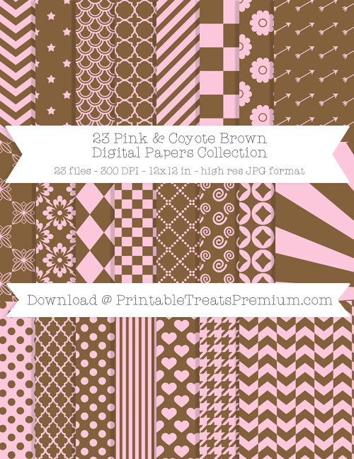 23 Pink and Coyote Brown Digital Papers Collection
