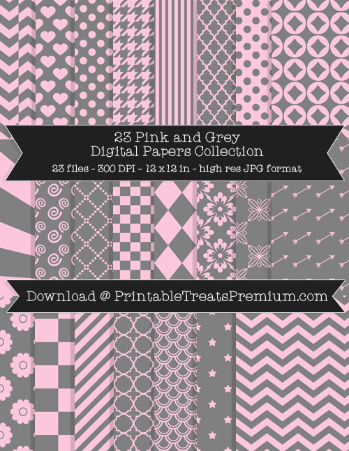 23 Pink and Grey Digital Papers Collection