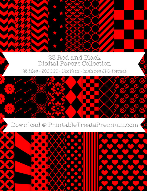 23 Red and Black Digital Papers Collection