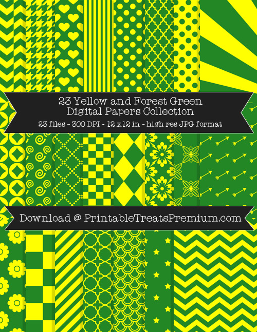 23 Yellow and Forest Green Digital Papers Collection