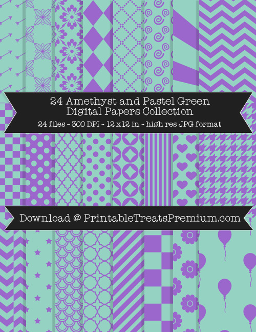 24 Amethyst and Pastel Green Digital Papers Collection