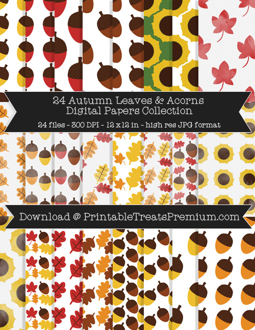 24 Autumn Leaves and Acorns Digital Papers Collection