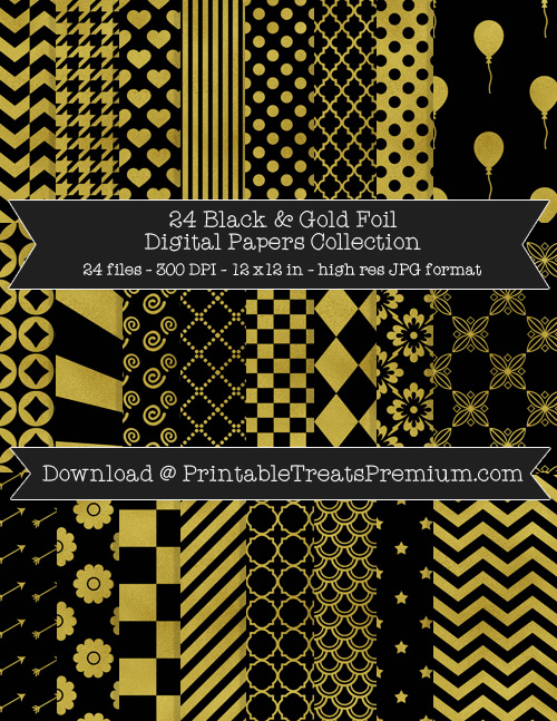 Black and Gold Foil Digital Paper Pack for Scrapbooking, Party