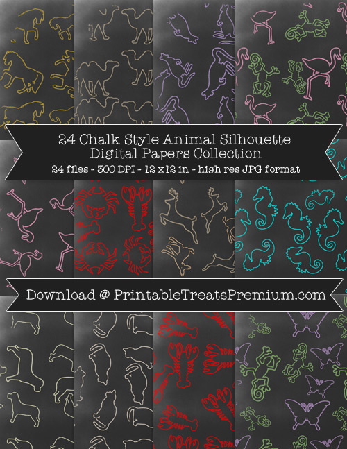 24 Chalk Style Animal Silhouette Digital Papers Collection