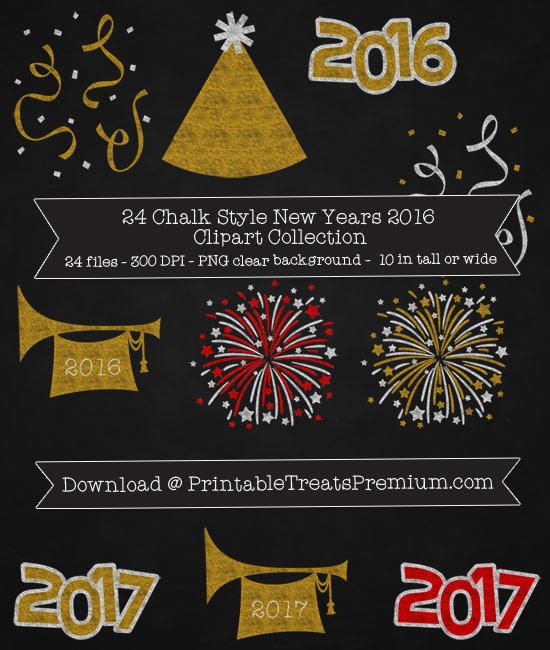 24 Chalk Style New Years 2016 Clipart Collection