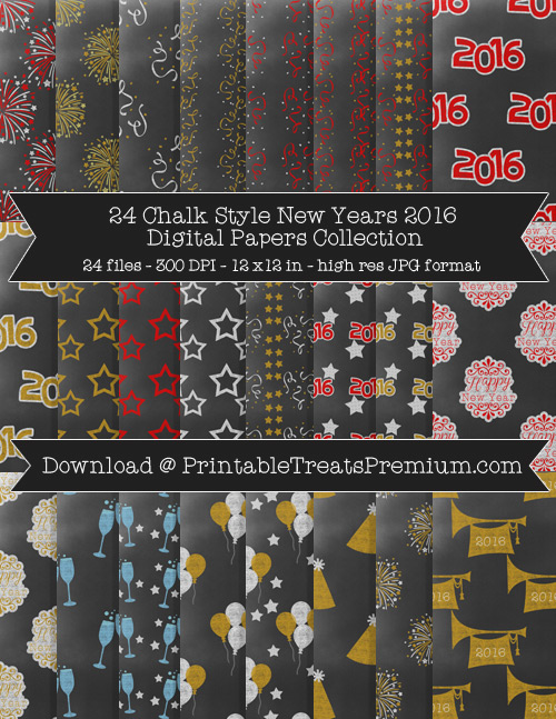 Chalk-Style New Years Digital Paper Pack for Scrapbooking, Invitations, Wrapping Paper, Parties