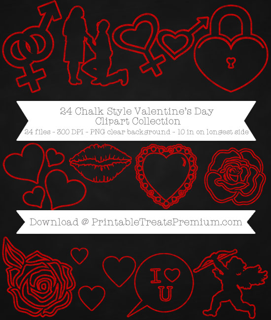 24 Chalk Style Valentines Day Clipart Collection