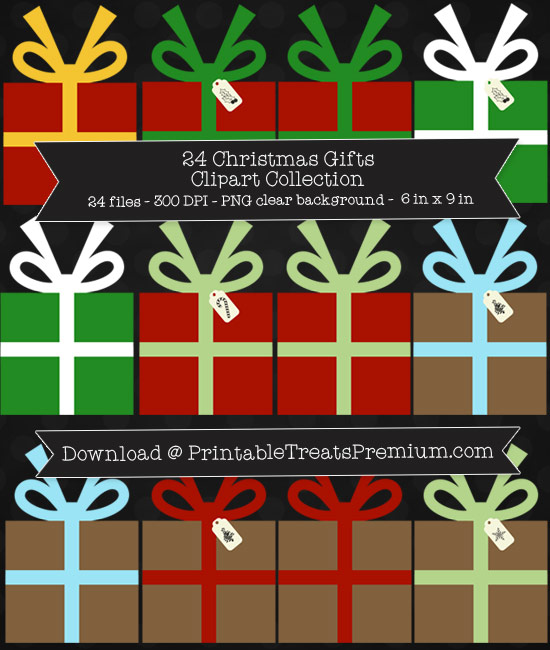 24 Christmas Gifts Clipart Collection