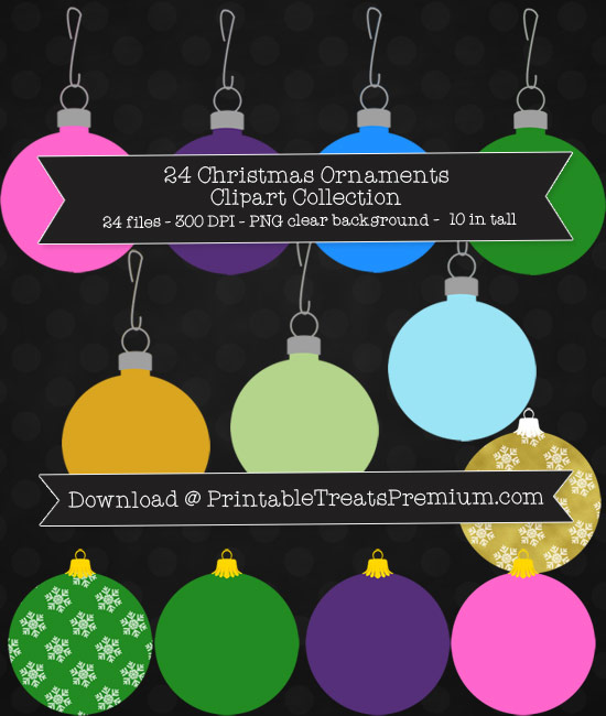 24 Christmas Ornaments Clipart Collection
