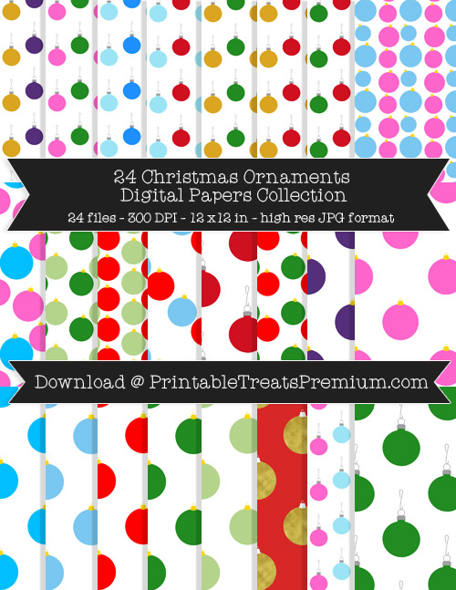Christmas Ornaments Digital Paper Pack for Scrapbooking, Invitations, Wrapping Paper, Parties