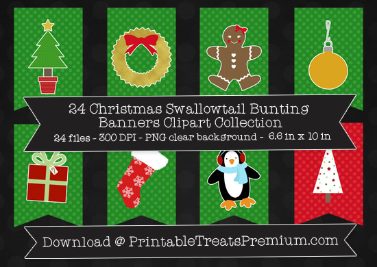 24 Christmas Swallowtail Bunting Banners Clipart Collection