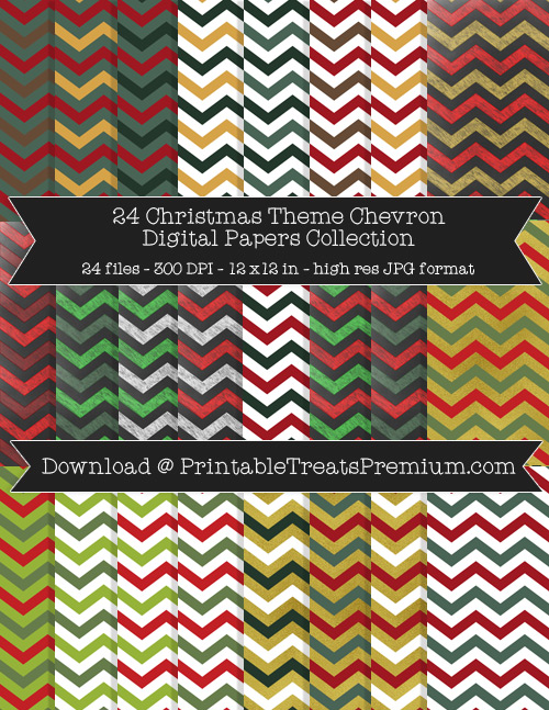 24 Christmas Theme Chevron Digital Papers Collection